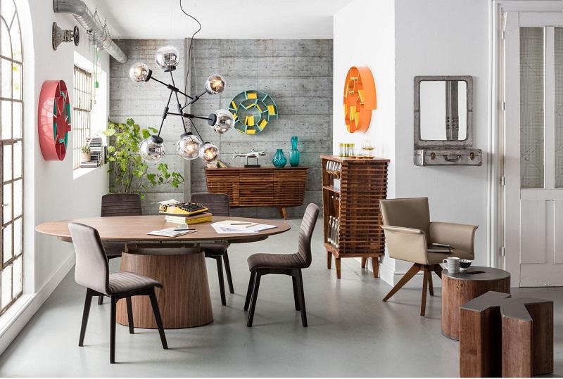 Rundt spisebord ovalt - indretning - valnød look