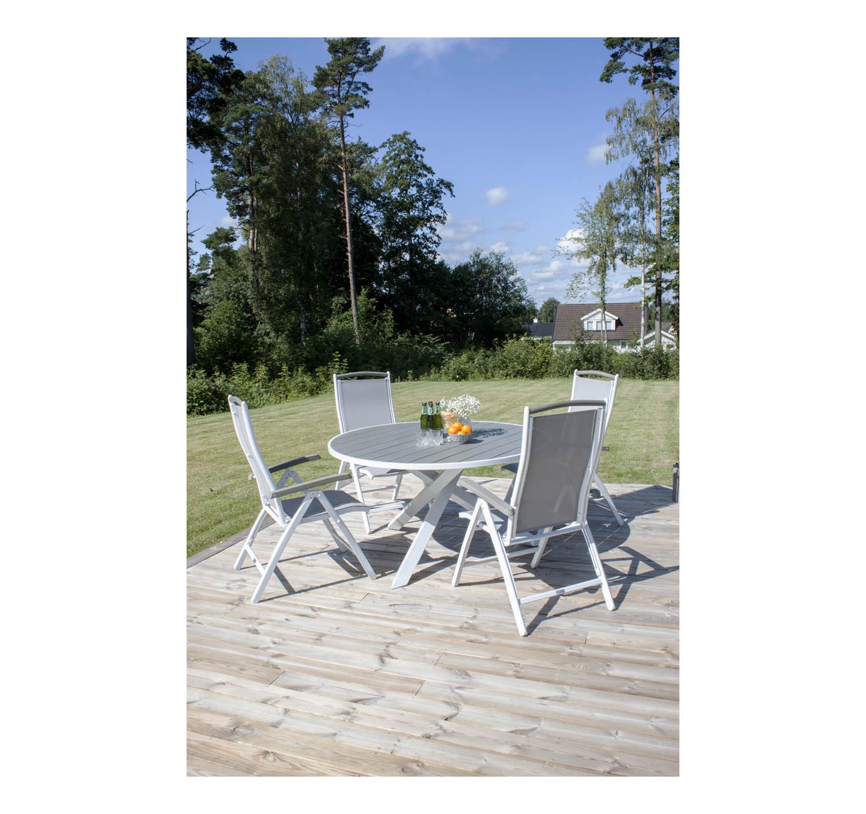 Rund havebordssæt i hvid  i polywood