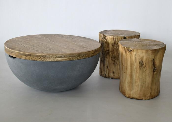 Sofabord i unik sten og træ stil