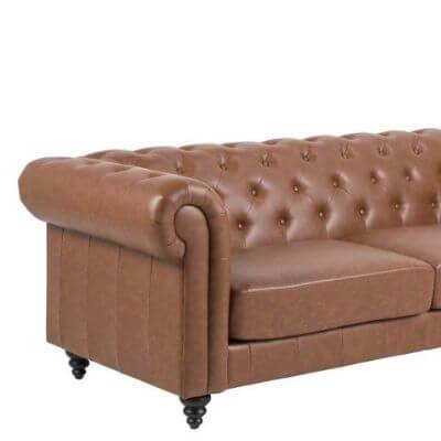 Chesterfield inspireret sofa brun kunstlæder