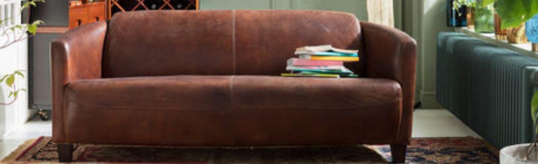 lækker læder sofa i brunt læder