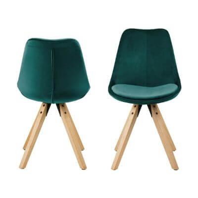 Smuk mørk grønne Dima spisebordstole i velour