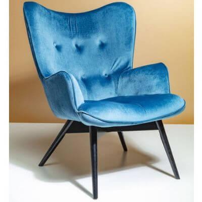 Lækker blå velour stol fra Kare Design