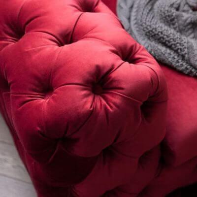 Rubin rød velour sofa