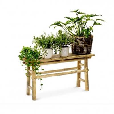 bambus, bambusbænk, bænk, bænke, planter, naturmaterialer, boboonline