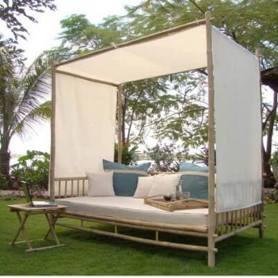 daybed, havemøbel, havedekoration, bambus, hynder, bambusmøbel, boboonline