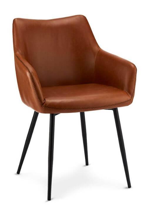 Lækker stol i læder fra Furnhouse med armlæn