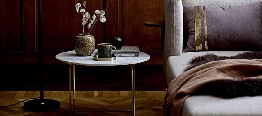 Flot hvid rund marmor sofabord