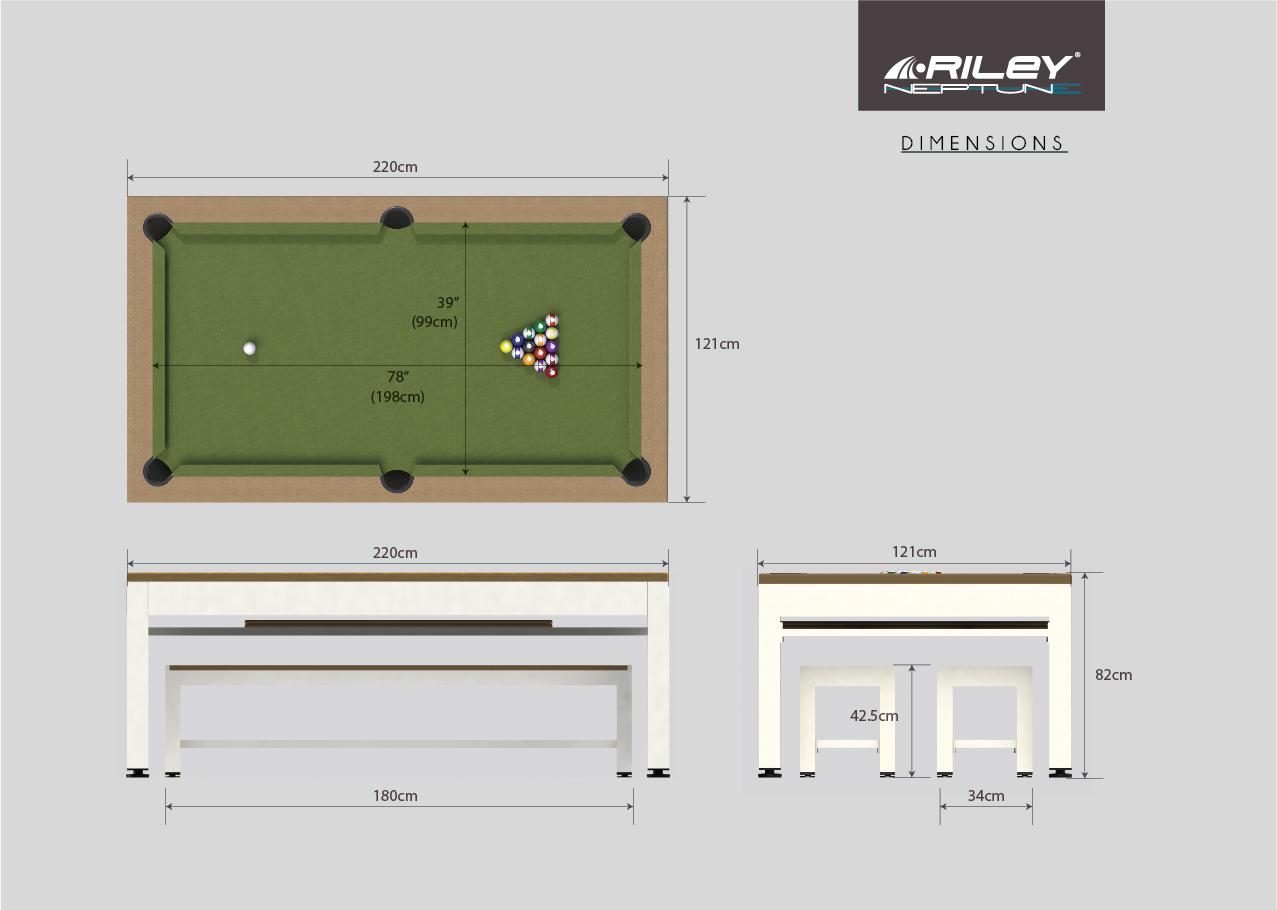 RILEY Neptune 3-i-1 havebordssæt/poolbord/bordtennisbord - grå/brun/blå, incl. bænke og tilbehør ...