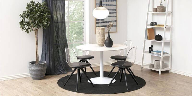 Ibiza rundt spisebord i hvidt træ med Ø110