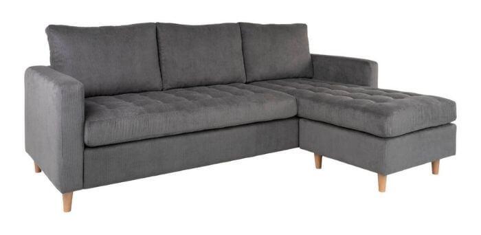 Flot bredriflet fløjl sofa