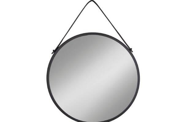 Flot rundt spejl med læderrem