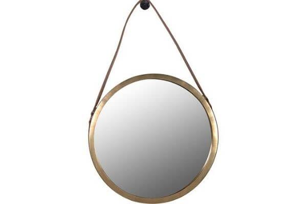 Flot guld rundt spejl med læderrem