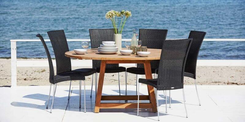 Sika Design stort rundt spisebord i teaktræ Ø160