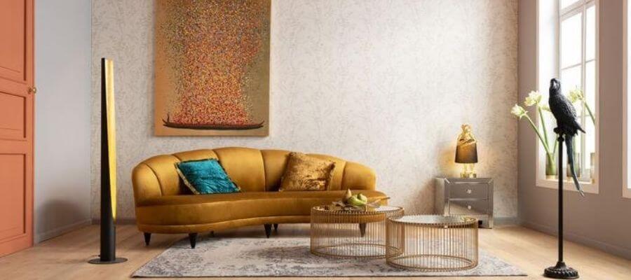 Elegant gul veloursofa fra Kare Design