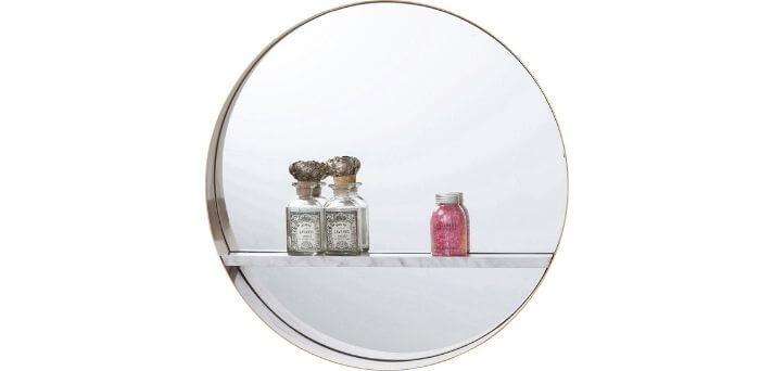 Rundt spejl med hylde