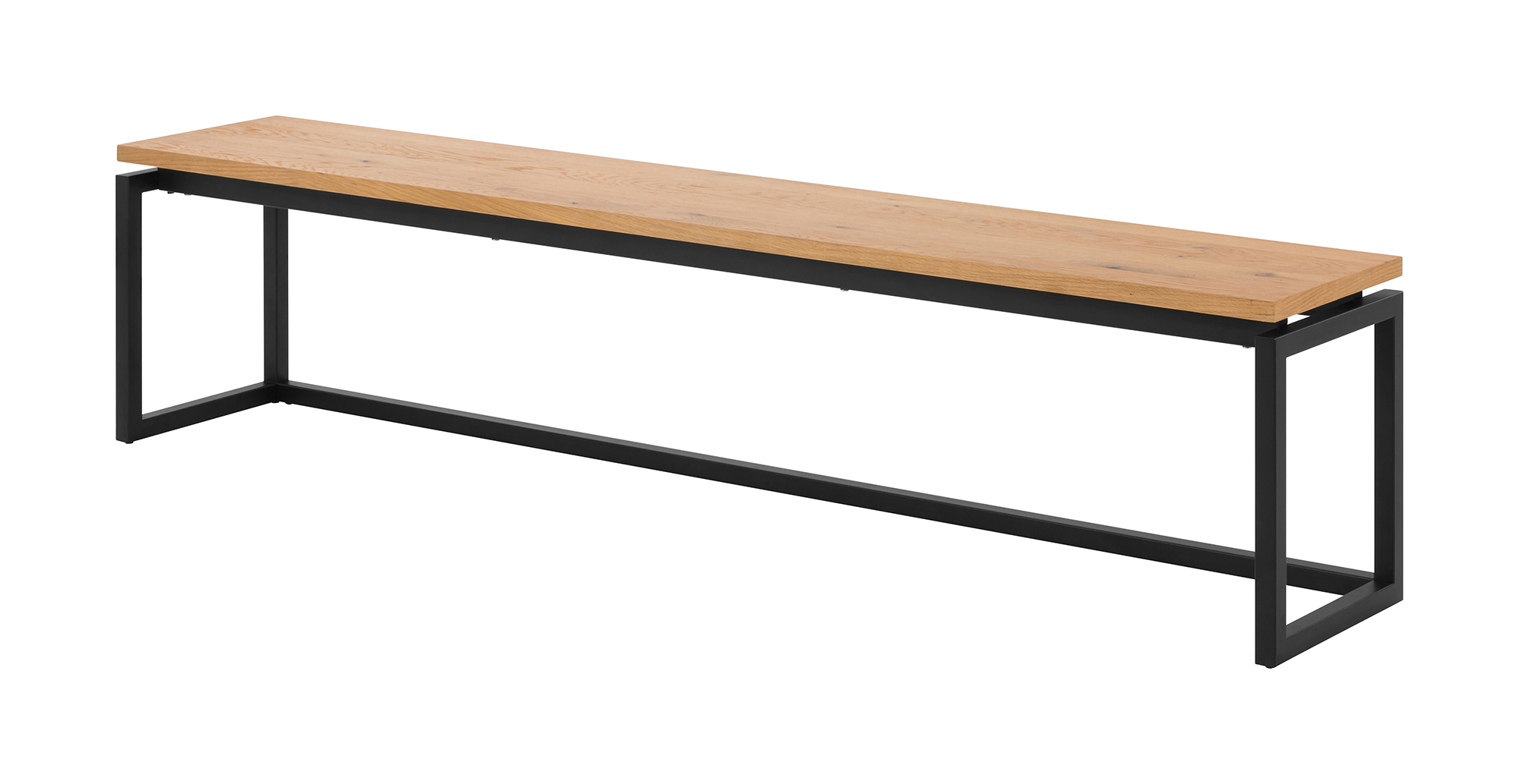 Dalarna bænk - natur/sort vildegfinér/metal (160x35)