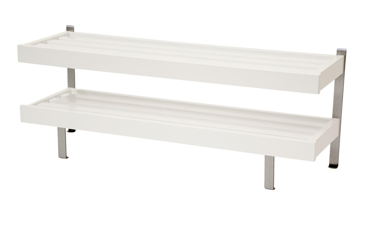 FURBO Nadja dobbelt skohylde - sort/hvid/natur eg og stål, m. 2 hylder, til gulv (B 60) Hvid