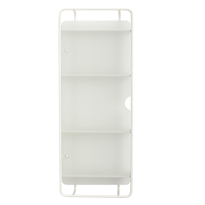 HÜBSCH vægreol - hvid glas og hvidt metal, m. 4 hylder og 1 hylde