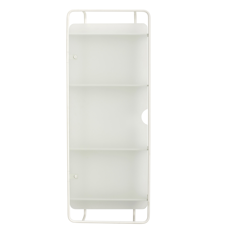 HÜBSCH vægreol - hvid glas/metal, m. 4 hylder og 1 låge