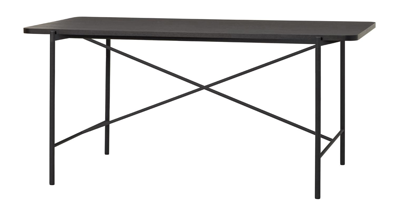 hübsch H?bsch skrivebord - sort asketræsfin?r/metal, rektangulær (160x83) på boboonline.dk
