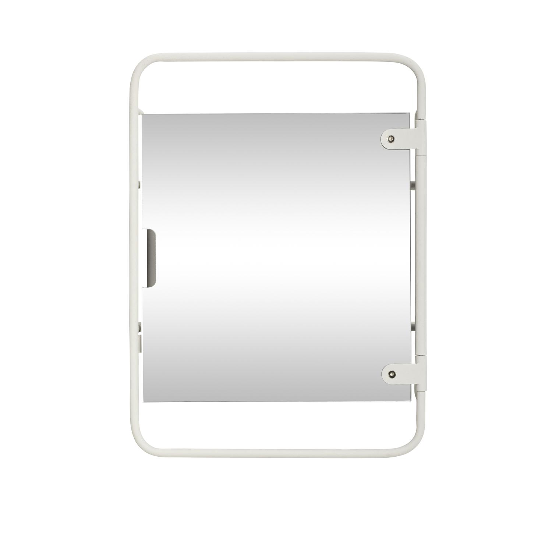 H?bsch vægreol - hvid metal og spejlglas, m. 2 hylder fra hübsch på boboonline.dk