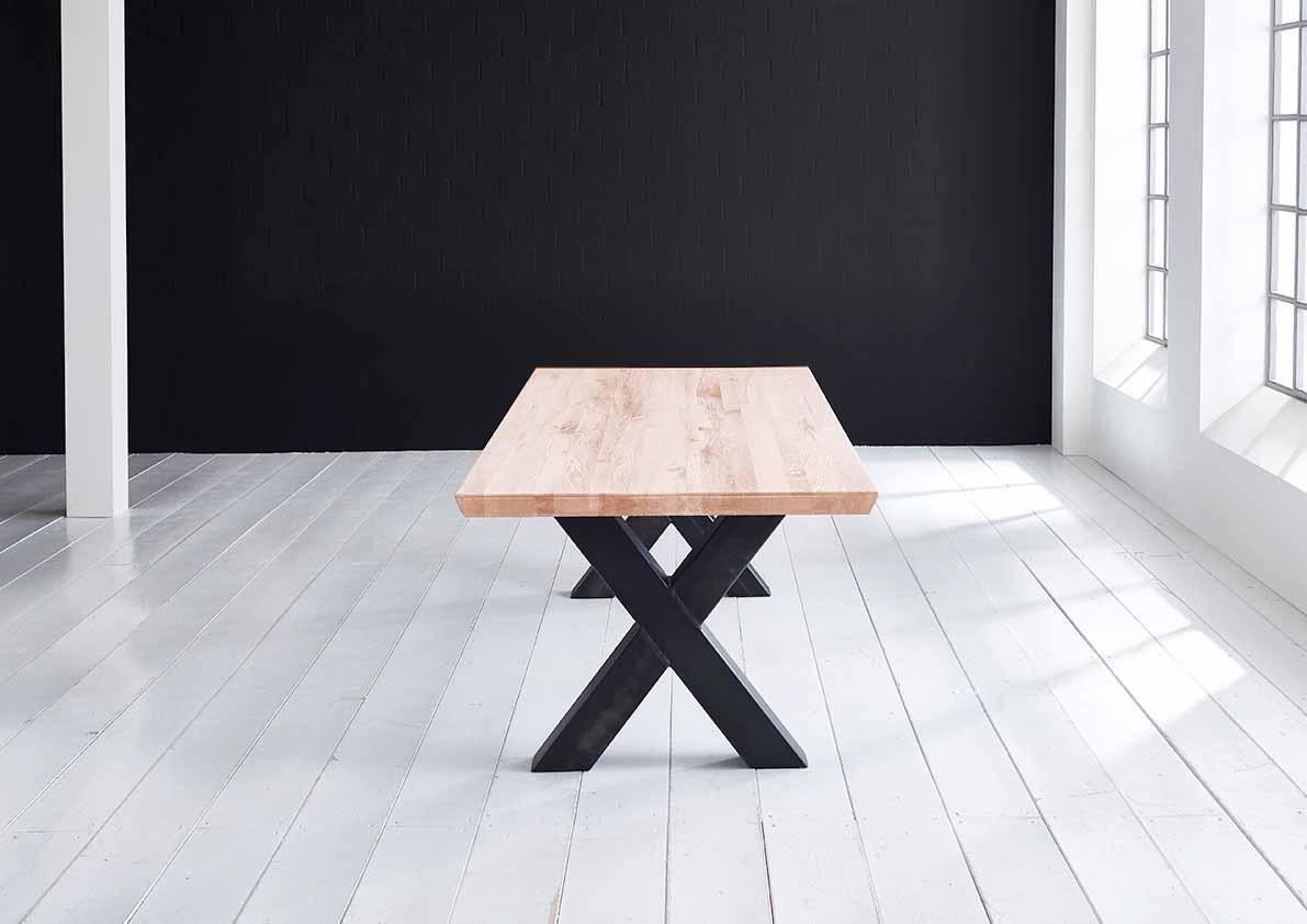 Concept 4 You plankebord - eg m. schweizerkant og Freja-ben, m. udtræk (180-260x100-110) 6 cm 300 x 110 cm. 03 = white wash