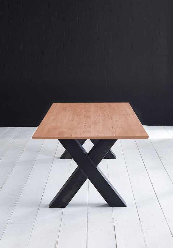 Concept 4 You Plankebord - Barkkant Eg med krydsben 3 cm 180 x 100 cm 03 = white wash