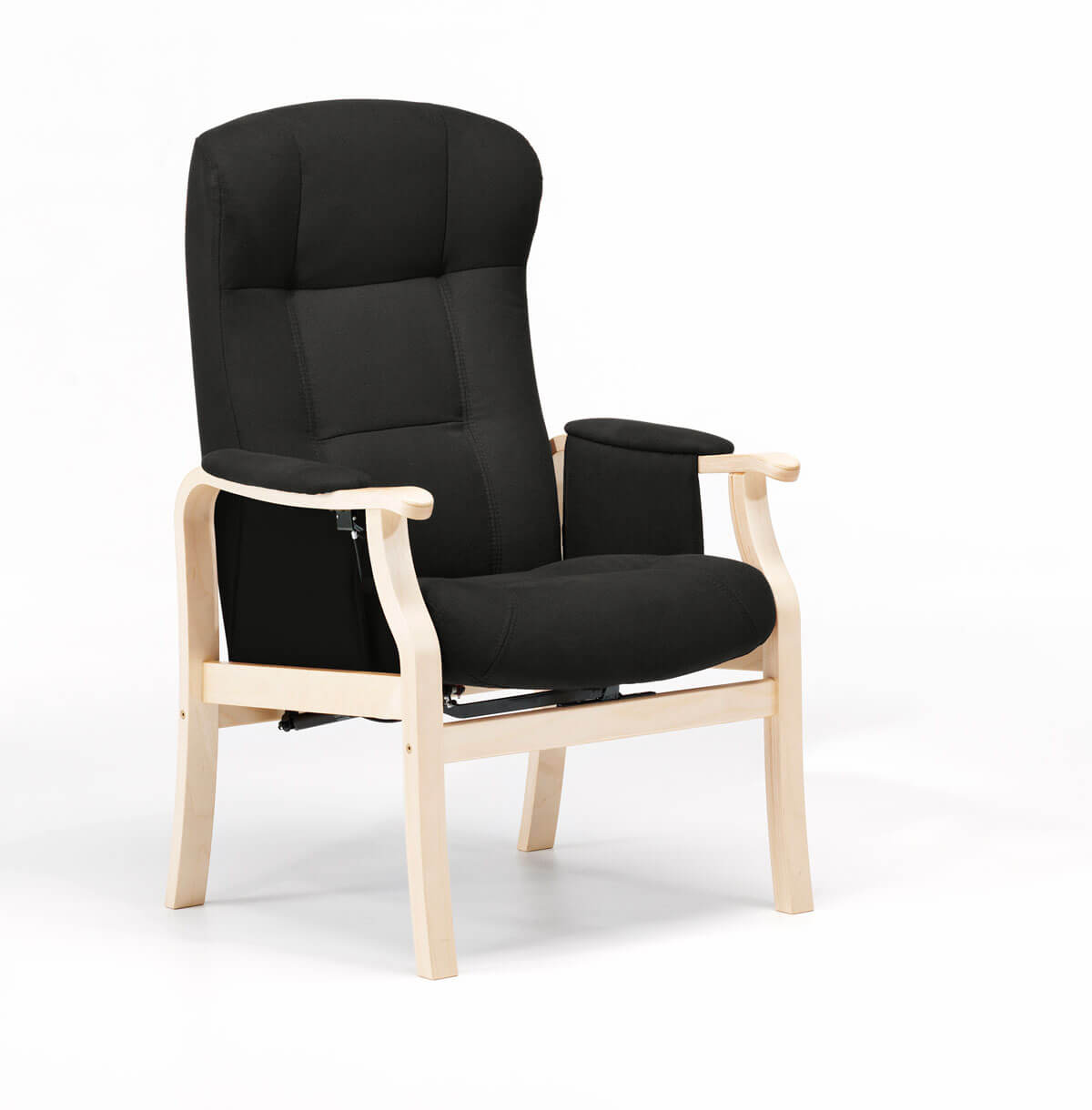 Nordic-c sorø standard seniorstol - antracitgrå stof og træ, m. armlæn, eksl. skammel