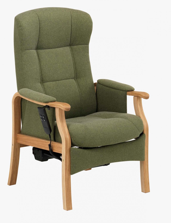 NORDIC-C Sorø medium seniorstol med elektrisk sædeløft og rygmotor, eksl. skammel - oliven