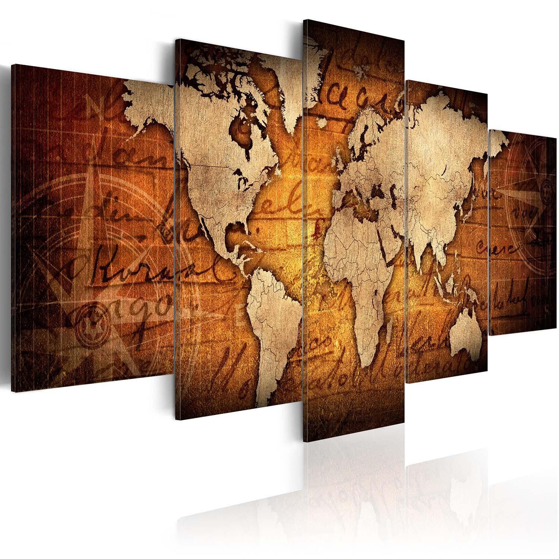 artgeist Artgeist verdenskort - amber map, på lærred, to størrelser 200x100 på boboonline.dk