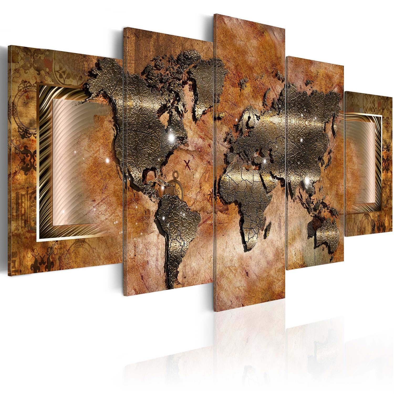 artgeist Artgeist verdenskort - steel map, på lærred, to størrelser 100x50 fra boboonline.dk