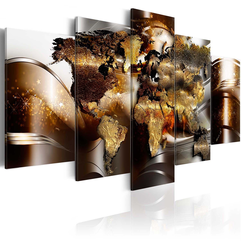 Artgeist verdenskort - honey continents, på lærred, to størrelser 200x100 fra artgeist fra boboonline.dk