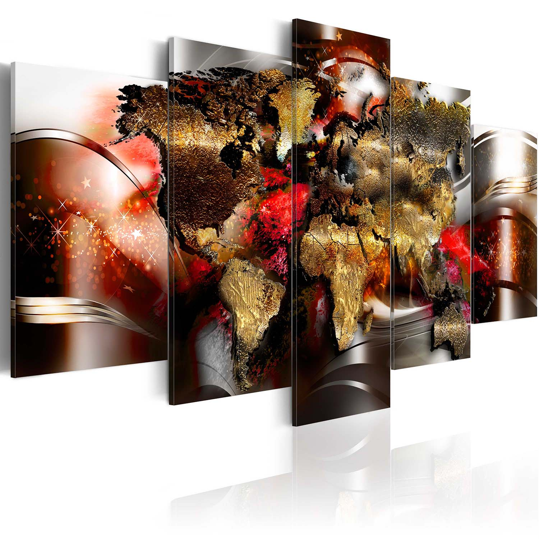 Artgeist verdenskort - ruby ribbon, på lærred, to størrelser 200x100 fra artgeist fra boboonline.dk