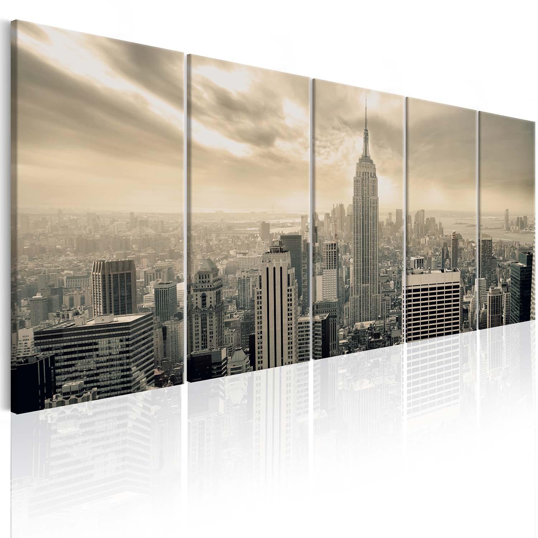 Image of Artgeist billede - Beige Manhattan, på lærred 200x80