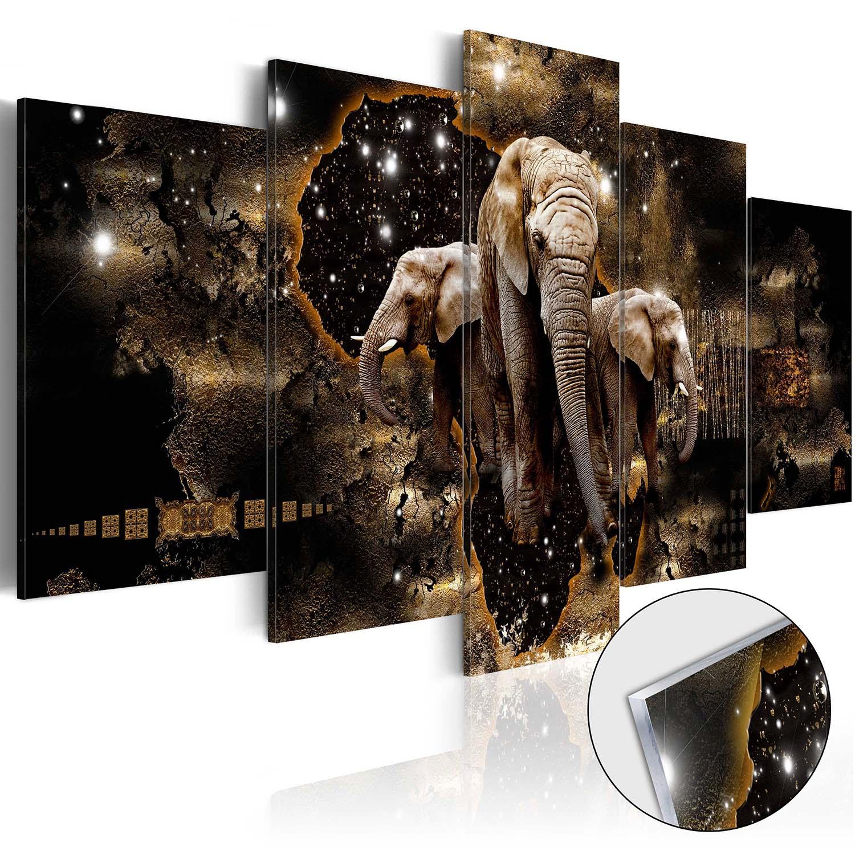 Image of Artgeist billede - Brown Elephants, på plexiglas, to størrelser 100x50