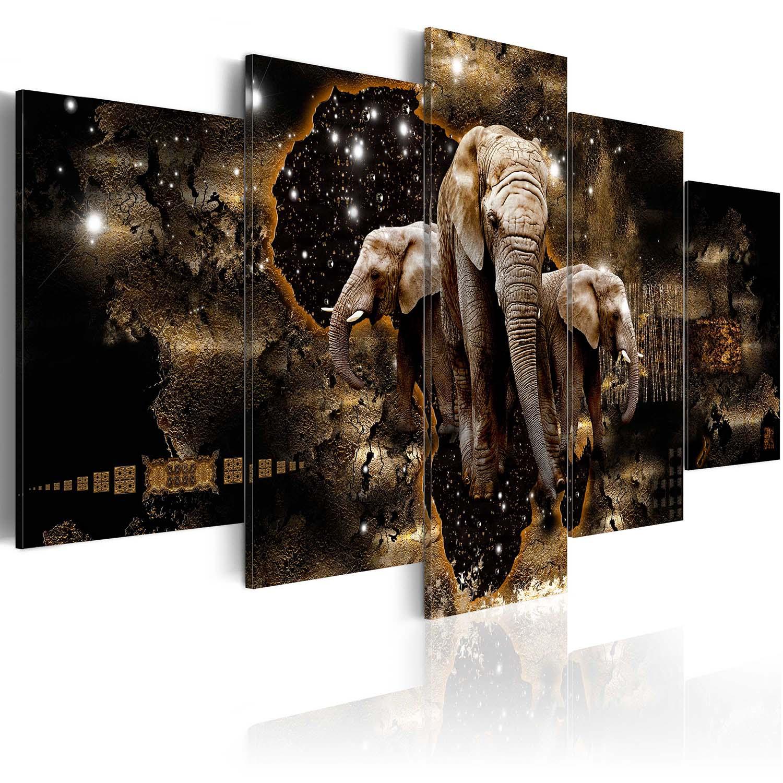 Image of Artgeist Billede af Elefant - Brown Elephants, på lærred (flere størrelser) 100x50