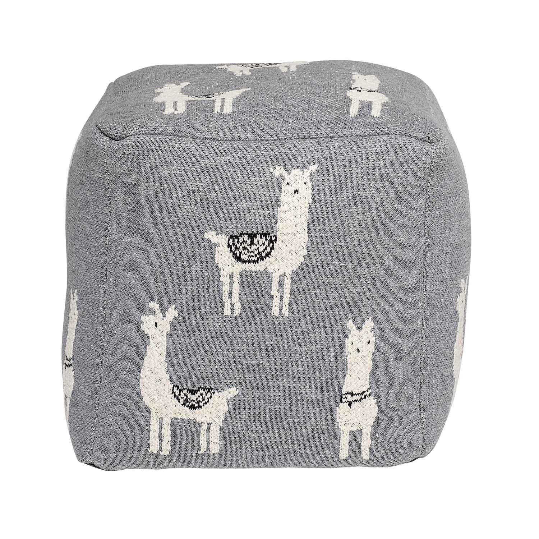 BLOOMINGVILLE MINI puf lama - grå/hvid bomuld, kvadratisk (38x38)