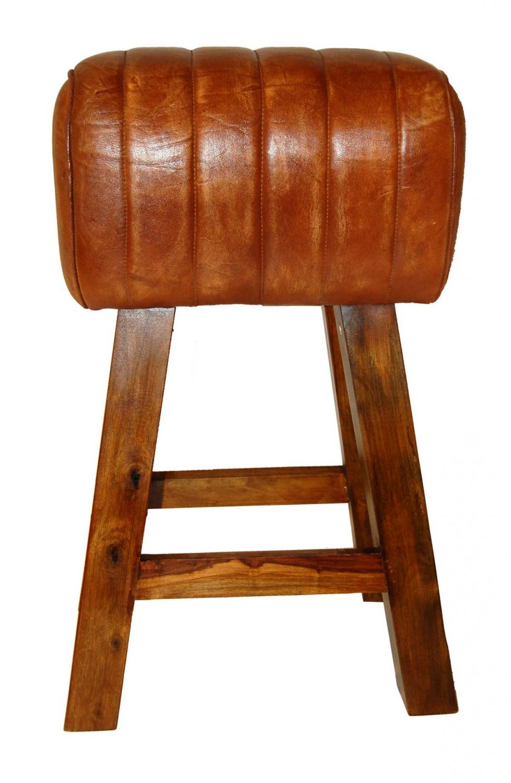 TRADEMARK LIVING barskammel - ægte brunt læder og træ thumbnail
