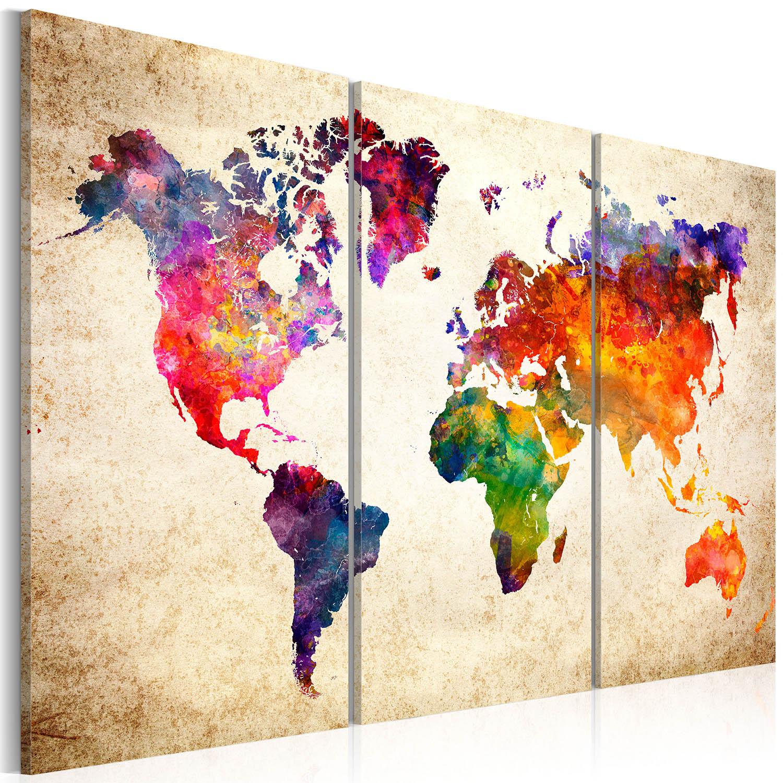 artgeist – Artgeist verdenskort - the world's map in watercolor, på lærred 90x60 på boboonline.dk