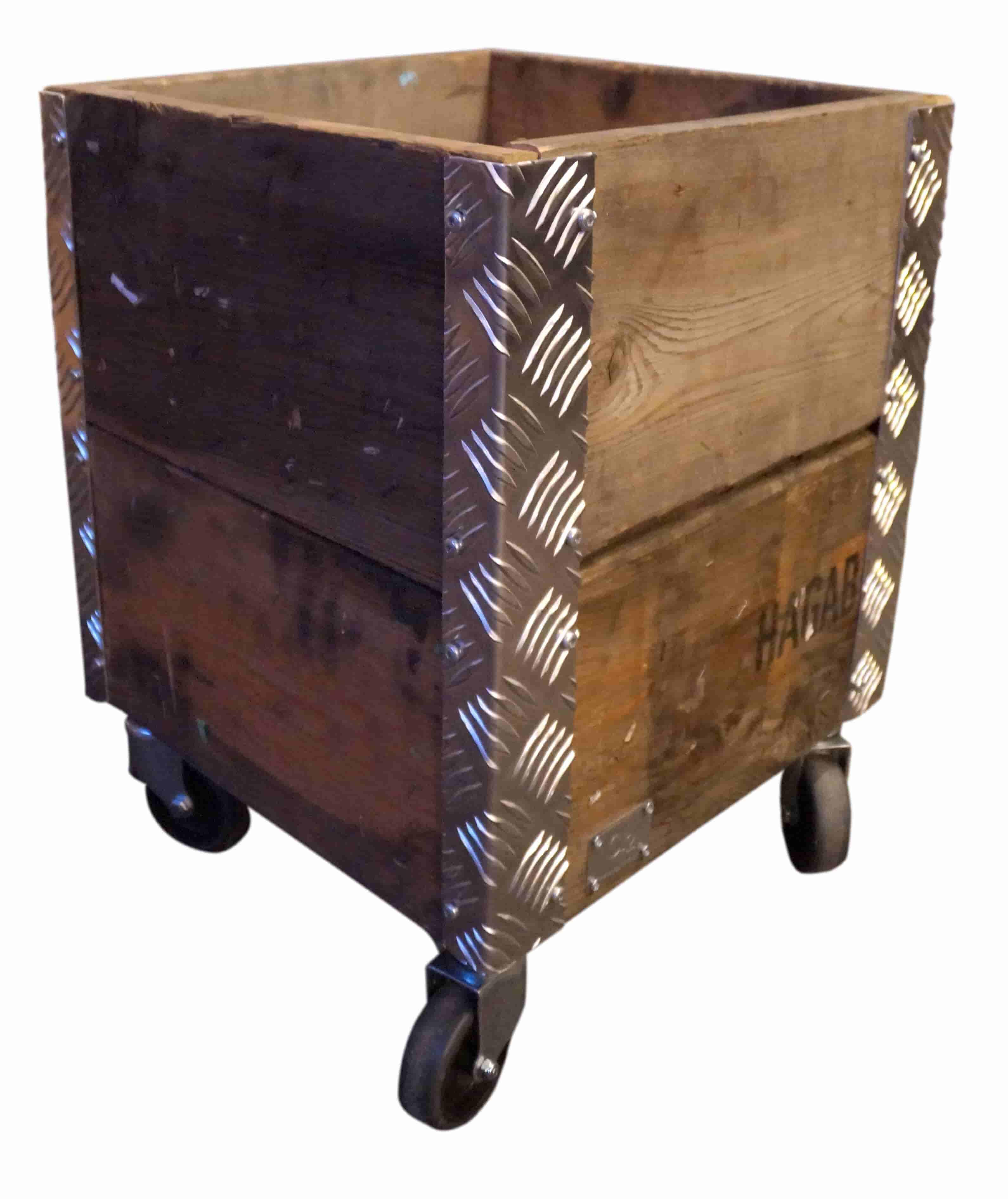Image of   A2 LIVING Quadro opbevaringskasse - genbrugstræ og alu ramme, på hjul (36x29,5)