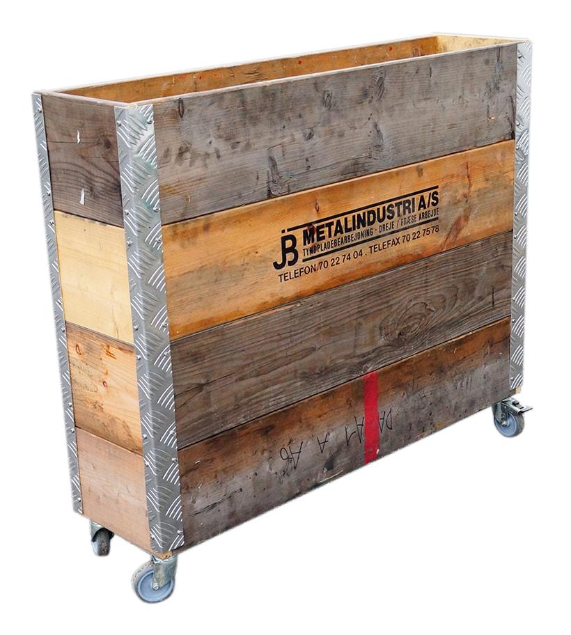 Image of   A2 LIVING Longbox opbevaringskasse - genbrugstræ, 4 lag, på hjul