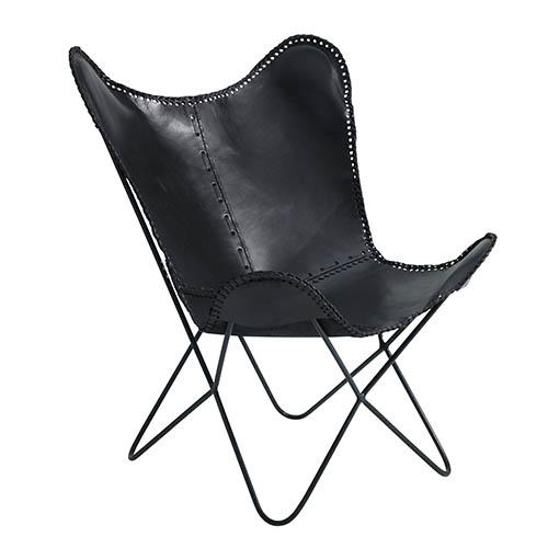 FUHRHOME Amazon butterfly stol, sort, ægte læder Unika