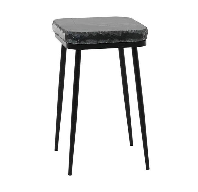 FUHRHOME Naples sofabord, sort marmor, sort metalstel (ø38) - Unika