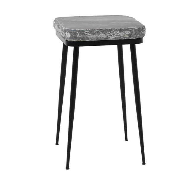 FUHRHOME Naples sofabord, grå marmor, sort metalstel (ø38) - Unika