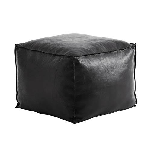 FUHRHOME Memphis puf, sort ægte læder (65x65) - Unika