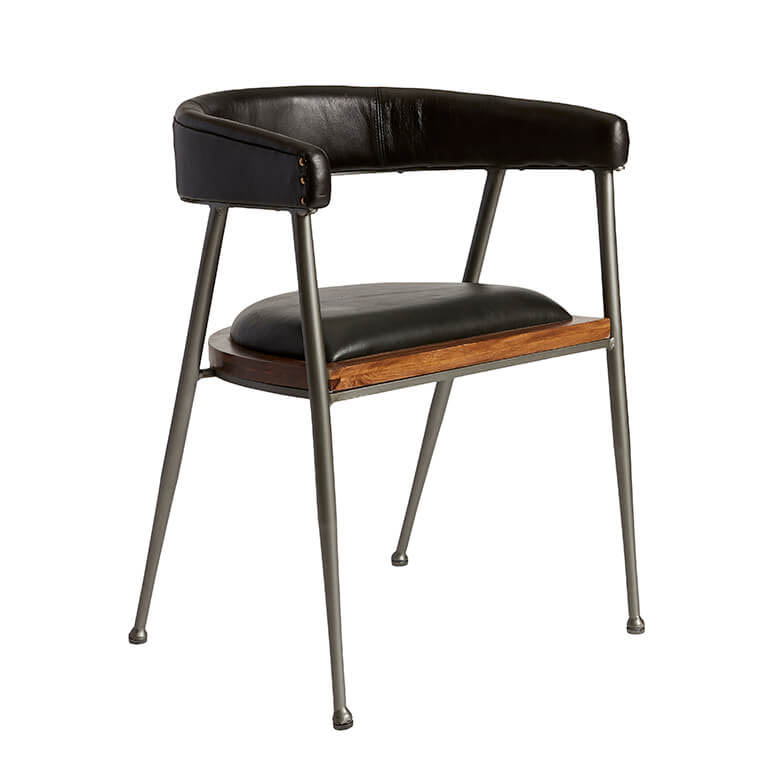 FUHRHOME London XL spisebordsstol med armlæn, sort - Bøffel læder, unika