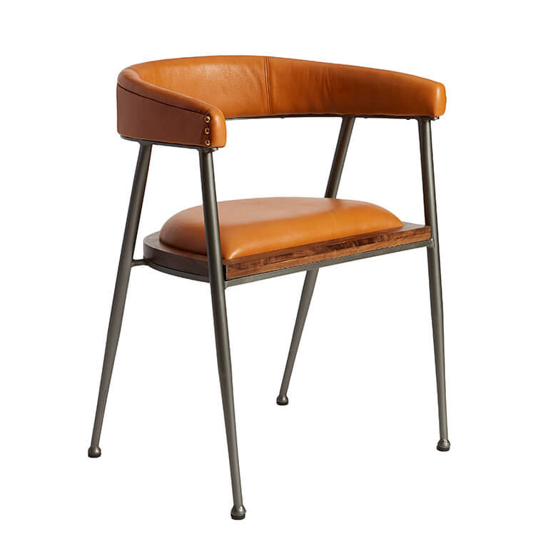 Billede af FUHRHOME London XL spisebordsstol med armlæn, Cognac - Bøffel læder