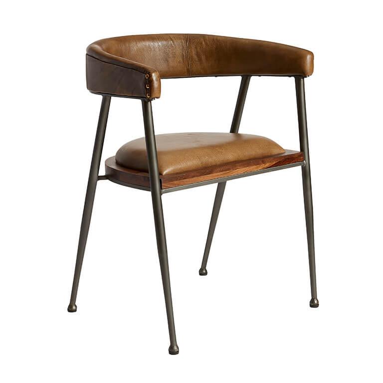 Billede af FUHRHOME London XL spisebordsstol med armlæn, Patina - Bøffel læder, unika