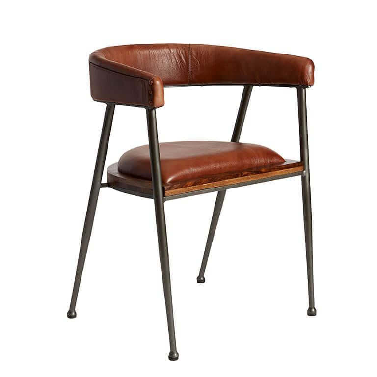 FUHRHOME London XL spisebordsstol med armlæn, rose brown - Bøffel læder, unika